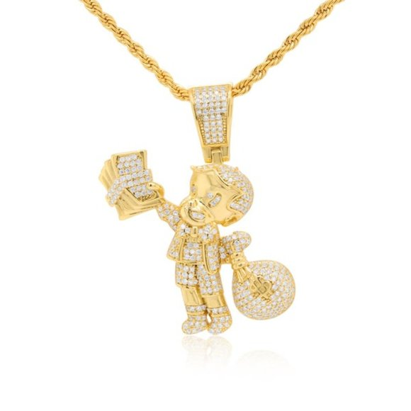 14K Rich Life Pendant handset lab diamonds with rope chain